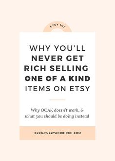 Today we're going to chat about selling one of a kind items on Etsy. And why it's actually killing your business. Learn what to do instead!