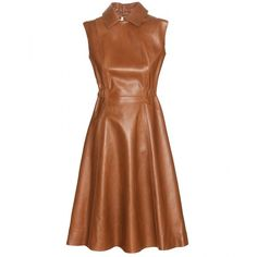Acne Studios Levice Leather Dress ($1,755) ❤ liked on Polyvore featuring dresses, vestidos, brown, white leather dress, acne studios, genuine leather dress, brown dress and white dress