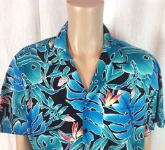 323c3877 Hilo Hattie Men's XL Hawaiian Shirt Aloha Floral Colorful Magnum PI Style  Aqua #HiloHattie #