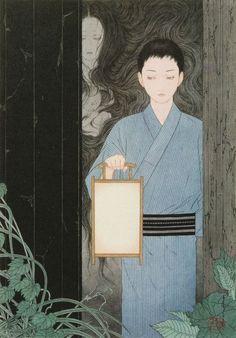 Takato Yamamoto - Illustration from Grass Labyrinth Art Book by Kyōka Izumik Japanese Drawing, Japanese Art Modern, Japanese Prints, Japan Illustration, L5r, Art Japonais, Japan Art, Illustrations, Horror Art