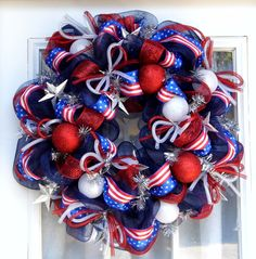 Patriotic Celebration Red White And Blue Mesh Wreath