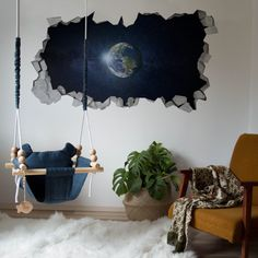 FULL COLOUR SPACE PLANET EARTH CRACKED 3D WALL ART STICKER BOYS DECAL MURAL 18