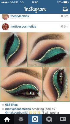 Emerald and cold cut crease smokey eye
