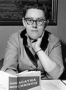 Maria Lang with Agatha Christie novel