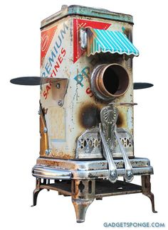 Birdhouse Bird house Art Piece Repurposed Upcycled Custom Clock Edgemont Crackers Tin Film Strongbox Mailbox Doors Metal Recycled OOAK $365...