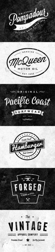 6 Free Customizable Retro Vintage Logos Emblems 500x2270 チェック!レトロ&ビンテージなロゴデザインの参考に。素材やサイトまとめ(商用可あり・AI・EPS・PSD)