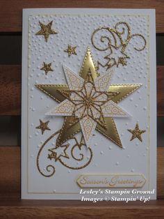 Lesley's Stampin Ground : So Many Stars Bundle Homemade Christmas Cards, Printable Christmas Cards, Christmas Cards To Make, Stampin Up Christmas, Christmas Star, Christmas Greeting Cards, Homemade Cards, Handmade Christmas, Holiday Cards