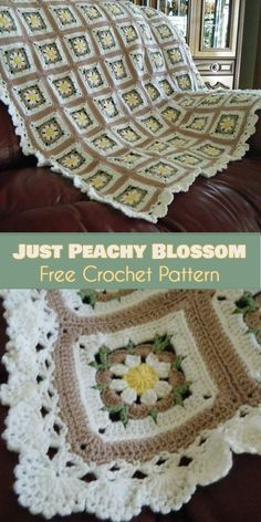 Just Peachy Blossom Square for Blankets [Crochet Free Pattern] | Your Crochet