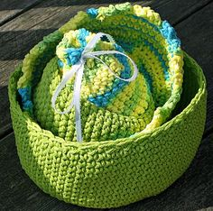 Crochet Nesting Bowls / Nesting Baskets - Set of 4 Lime Green, Blue and Yellow. $25.00, via Etsy.