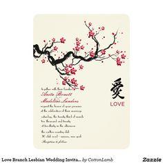 "Love Branch Lesbian Wedding Invitation 5"" X 7"" Invitation Card"