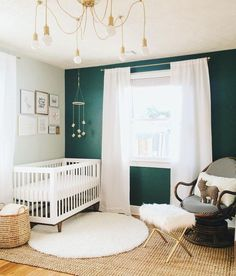 The nursery is almost complete! Vintage rocking chair, diy geometric mobile, homemade wall art, a fuzzy wayfair rug, a donated ottoman & the BEST can of gold spray paint for the win! Now all I need is my sweet baby boy ❤️ 2 days and counting! Baby Bedroom, Baby Boy Rooms, Baby Boy Nurseries, Nursery Room, Girl Nursery, Nursery Decor, Neutral Nurseries, Accent Wall Nursery, Nursery Gray