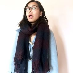 dark blue and maroon blanket scarf super cozy and chunky navy/maroon/burgundy blanket scarf with fringe on the ends. so cute, it has never been worn but when I washed it, it got a bit pilly. not from listed brand  // bundle to save! check out my closet for brands like unif, asos, urban outfitters, vintage goods, brandy Melville, topshop, Zara, nasty gal, free people, LF, forever 21 and more! Urban Outfitters Accessories Scarves & Wraps