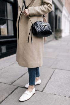 White Loafers - The Heart's Delight Loafers Outfit Summer, Stylish Winter Outfits, Comfortable Flats, Nordstrom Anniversary Sale, Camel Coat, Fashion Bags, Normcore, Street Style, My Style