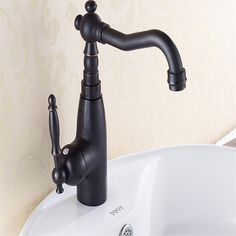 1PC  Kitchen/Bathroom Swivel Brass Faucets Bathroom Faucet Sink Basin Mixer Tap black Antique Brass #Affiliate