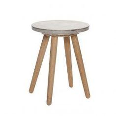 Hübsch / Stolička s betonovým sedákem Oak/Concrete