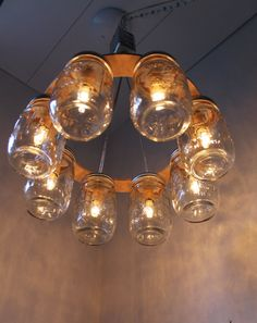 WAGON WHEEL Mason Jar Chandelier - Mason Jar Light - Industiral Swag - Handcrafted Upcycled BootsNGus Hanging Pendant Lighting Fixture