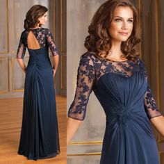 Hot Sale Navy Blue Mother of Bride Dress Gowns Women Sheer Lace Chiffon Vestido Madrinha Open Back Formal Evening Dresses Half Sleeve M2191 Online with $111.0/Piece on Store005's Store   DHgate.com