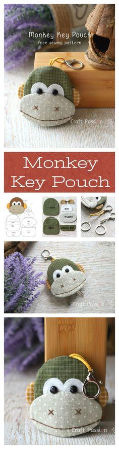Free Sewing Pattern & Tutorial Ba Nana Monkey Key Pouch