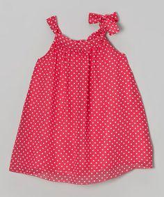 Coral Polka Dot Sydney Dress - Toddler & Girls