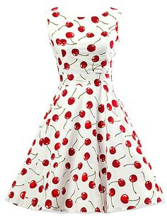 #HappyDress #Vintage :D Cherries all over! Women's Going out Vintage / Cute A Line / Skater Dress,Print Round Neck Knee-length Sleeveless White Cotton Spring