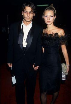 With Johnny Depp at Frank Sinatra's 80th birthday celebration in Los Angeles, Nov. 1995.