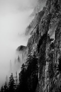 Black And White Silhouette Of The Mountains by Vitaliebrega.com