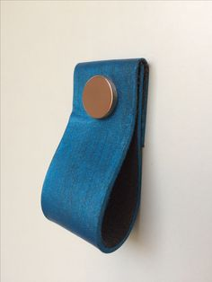 Hand dyed leather pull with blue finish