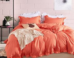 Orange duvet cover king   Etsy Orange Duvet Covers, Best Duvet Covers, Comforter Cover, Bed Covers, Comforter Sets, Portable House, Queen Sheets, Dust Ruffle, King Size