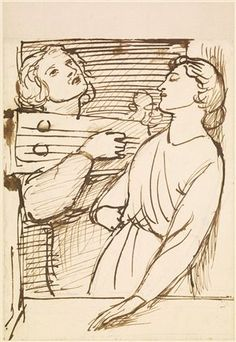 Morning Music - Figure Study / Two Lovers at a Window by Dante Gabriel Rossetti