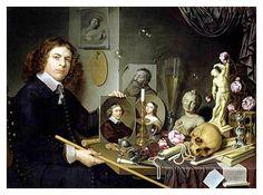 'Self-Portrait with Vanitas Symbols', 1651 (oil on wood panel)