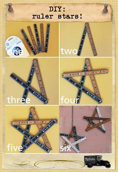 what you need: heavy duty glue dots, 5 7gypsies rulers, chain to hang star  one. gather the glue dots and all the rulers (depending...