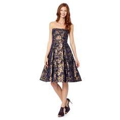 Debut Dark blue jacquard floral bandeau prom dress- at Debenhams.com