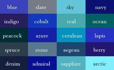 Shades Of Blue Names, Types Of Blue, Blue Shades Colors, Color Blue, Color Names Chart, Illustrator, Colour Pallete, Color Palettes, Color Stories