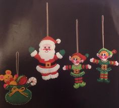 VTG Bucilla Jewel Santa & Helpers Xmas Ornament Kit Embroidery Sequin Felt #3586 #Bucilla