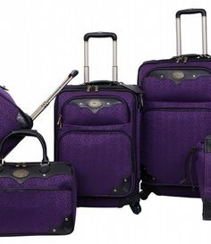 AMERICAN FLYER 3-Piece Tokyo Collection Luggage Set - purple with ...