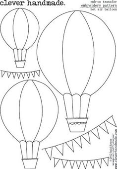 clever handmade embroidery patterns rub ons hot air balloon if you prefer free hand sewing but need a little guide then you will love these