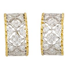 MARIO BUCCELLATI Diamond 2-Tone Gold Huggies Earrings #TuscanyAgriturismoGiratola