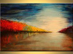 painting landscape original painting Contemporary Modern ART Landscape room deco  art Acrylic Paints  by OAK