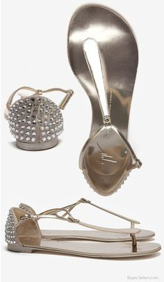 Giuseppe Zanotti Crystal Heel Thong Sandal
