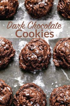 Chewy, gooey deep dark chocolate cookie recipe loaded to the max with three kinds of chocolate chips and chunks, and topped with sea salt!#holiday #christmascookies #darkchocolate #cookies @wellplated Dark Chocolate Cookies, Chocolate Cookie Recipes, Best Cookie Recipes, Dark Chocolate Chips, Chocolate Flavors, Easy Delicious Recipes, Delicious Desserts, Healthy Recipes, Just Desserts