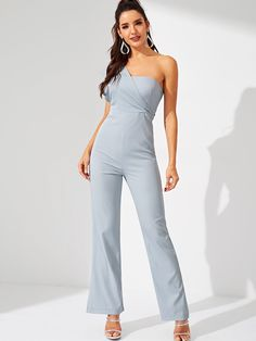 df316ff92a Blue Solid One Shoulder Asymmetric Party Long Jumpsuit Romper Women Winter  High Waist Sleeveless Elegant Sexy Jumpsuits
