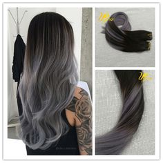 100% Real Balayage Ombre Tape In Human Hair Extension Black Mix with Silver Gray #Ugea