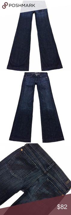 "7 For All Mankind ""Dojo"" SZ 27 Long Inseam 34.5"" Super Cute Lightly Worn Pair of 7 For All Mankind ""Dojo"" Women's SZ 27 Flare Dark Low-Rise Stretch Jeans. Minor wear on hem Style# U115B380S Cut# 001249 Measurements: Waist: 29"" Hips: 37"" Front rise: 7.5"" Back rise: 12.5"" Inseam: 34.5"" 7 For All Mankind Jeans Flare & Wide Leg"