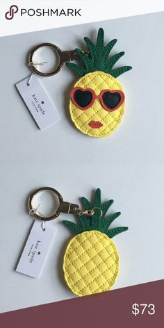 """Kate Spade Pineapple Keychain Key Fob Ring Details:  • Leather  • Shiny 12K gold plated metal  • Jump ring keyfob with link chain   Product Dimensions: 4.1""""H x 2.5""""W    NO TRADES  ❗️OFFERS WELCOME❗️ kate spade Accessories Key & Card Holders"""