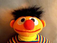 "Playskool Sesame Street Ernie Plush Stuffed Doll 11"" 1980s"