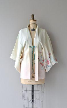 Haru silk haori vintage floral silk kimono floral by DearGolden