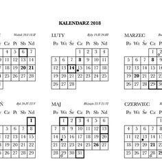 Prosty kalendarz na rok 2018 do pobrania w formacie jpg, pdf, w rozmiarach A4, A3.
