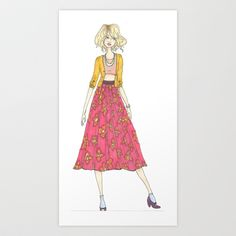 Floral skirt Art Print by Andrewsaurus - $22.88