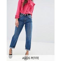 ASOS PETITE Original Mom Jeans in Baillie Rich Blue Wash