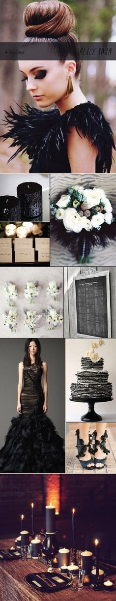 This week's inspiration board: Black Swan. Not only does this theme push the boundaries of the typical wedding colors but also adds a very romantic and theatrical feel! The Black Swan exudes confidence while staying composed and elegant. Hope this theme board sparks your imagination! Enjoy!